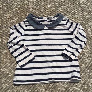 Baby Gap striped shirt with Peter Pan collar